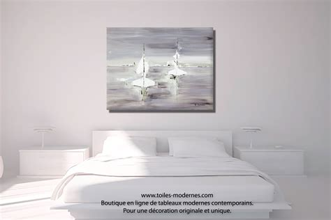 tableau chambre tableau gris voyage en mer grand format rectangle