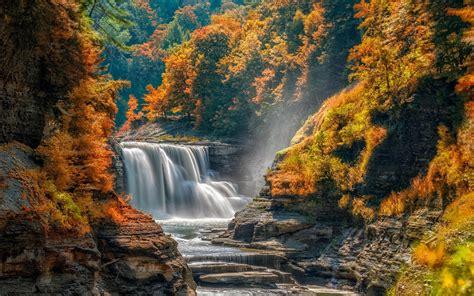 fonds decran automne arbres cascade pierres