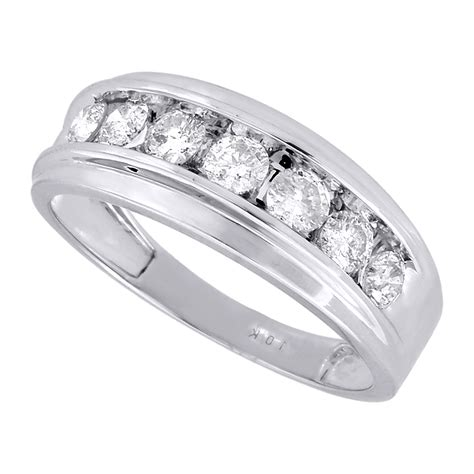 mens white gold  stone diamond engagement ring