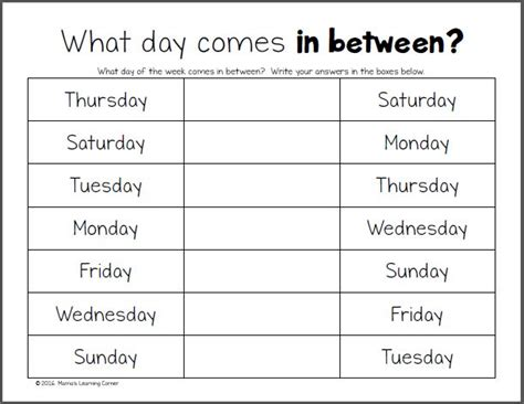 days   week worksheets activities