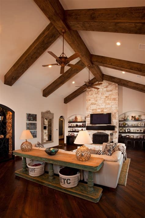 love  stained beams  floor  ceiling fireplace