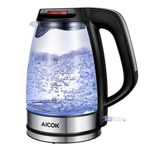 kettle glass electric aicok water tea cordless kettles amazon rated boil 1500w thermostat strix fast pot premium control indicator led