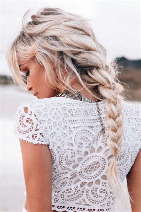 beach blonde blonde hair braid braided curly hair