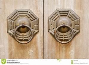 Chinese Old Bronze Lock In Wooden Door  Stock Photo