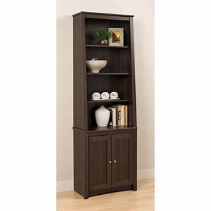 Prepac, Tall, Slant-back, Bookcase, -, Espresso, With, 2, Shaker, Doors