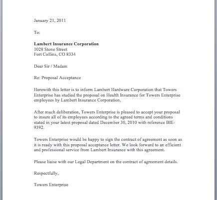 image result  sample letter  acceptance  proposal