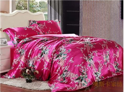 pink king size comforter peacock feather print pink silk bedding set for king
