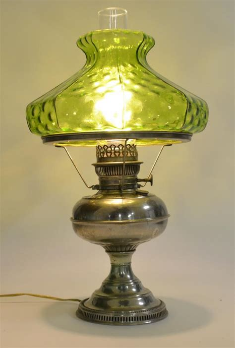 Rayo Antique Nickel Hurricane L With Green Art Glass