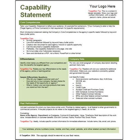 capability statement templates archives targetgov