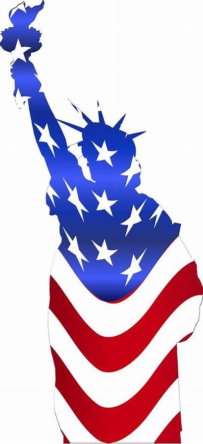 Liberty Clipart Statue Flag Outline Usa Svg