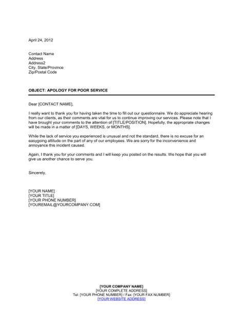 usar get template part apology for poor service rating on customer questionnaire