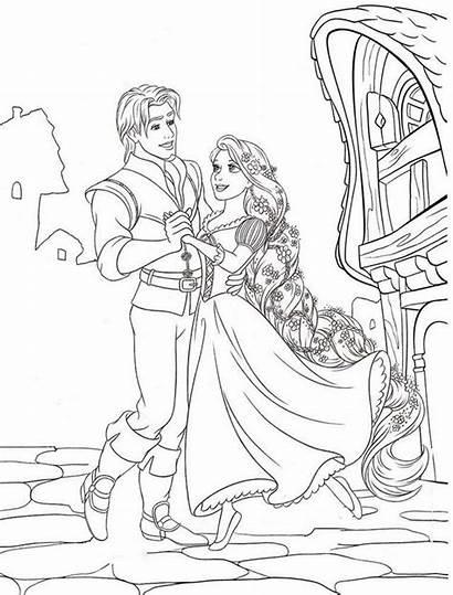 Coloring Rapunzel Tangled Dancing Disney Sheets Printable