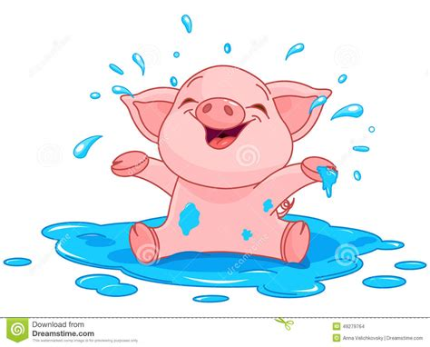 Piggy In A Puddle Stock Vector