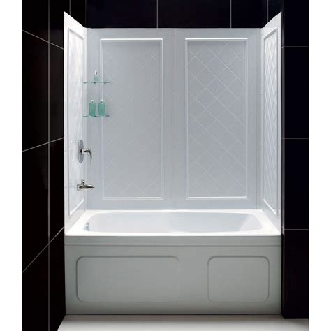 shower surrounds dreamline qwall tub 28 32 in d x 56 to 60 in w x 60 in