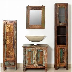 Set De Salle De Bain : acheter set de meubles de salle de bains en bois massif recycl avec miroir pas cher ~ Teatrodelosmanantiales.com Idées de Décoration