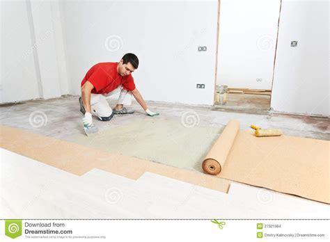 Parquet Floor Work With Cork Layer Stock Photo   Image of
