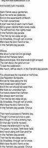 Old Time Song Lyrics for 14 Patricks Day Parade