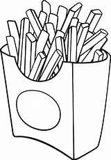 Fries French Coloring Pages Food Cartoon Illustration Vector Box Cafe sketch template