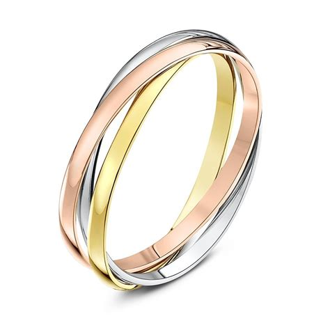 9kt three colour gold 2mm russian wedding ring