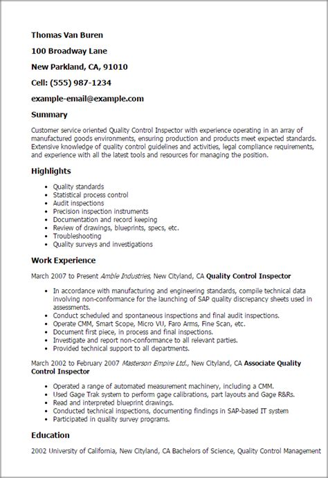Qc Inspector Resume by Professional Quality Inspector Templates To