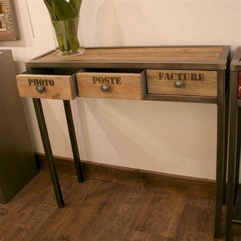 bureau ikea bois console tiroirs métal bois flotté mobilier design