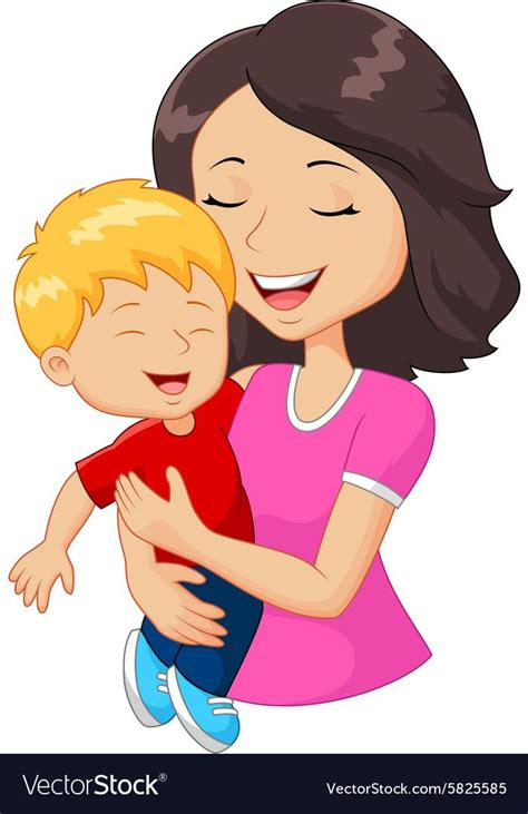 cartoon happy family mother holding son vector image