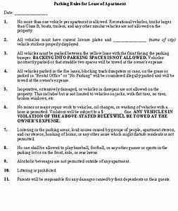 parking rules for lease of apartment property management With rental house rules template