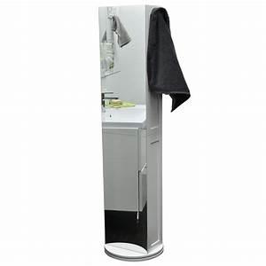 Colonne Salle De Bain Avec Miroir : colonne miroir avec base pivotante 169 5cm finition blanc ~ Dailycaller-alerts.com Idées de Décoration