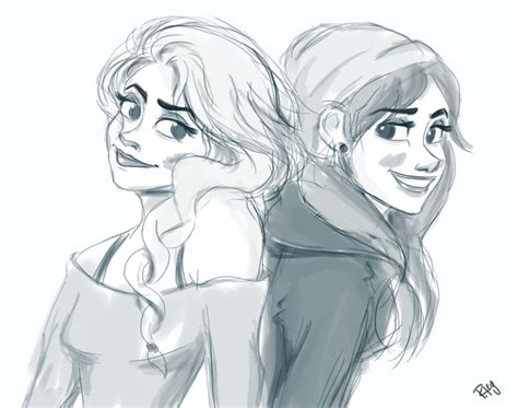 Modern Elsa And Anna By Blueberries-in-july On Deviantart