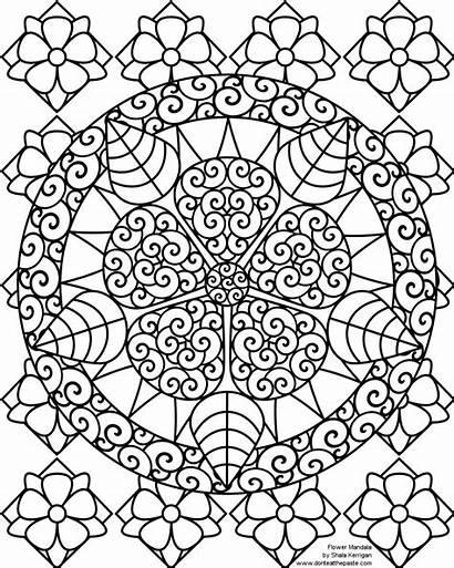 Coloring Pages Mandalas Flower Mandala Printable Adults