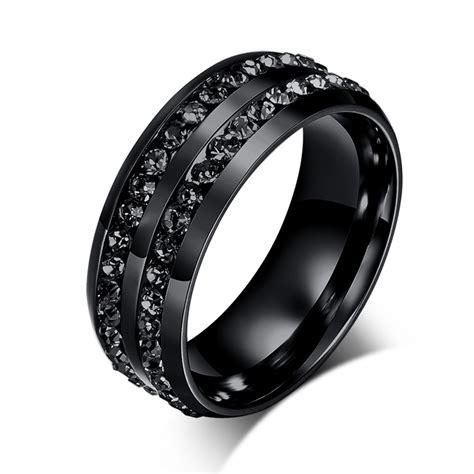new fashion men rings black crystyal rings stainless steel