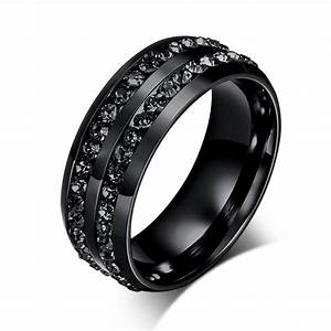 new fashion men rings black crystyal rings stainless steel With black stainless steel wedding rings