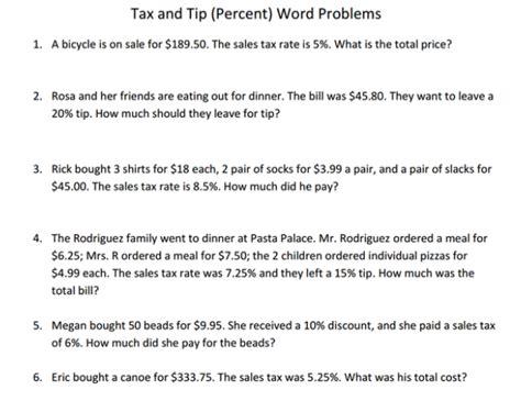 6th grade math sales tax and discount worksheets percent