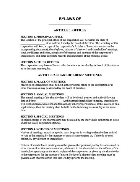 Bylaws Template Corporation Bylaws Template Boardwalk Aids
