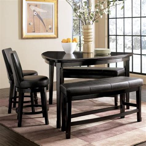 triangle dining table set millennium emory 5 piece triangle pub table set with two