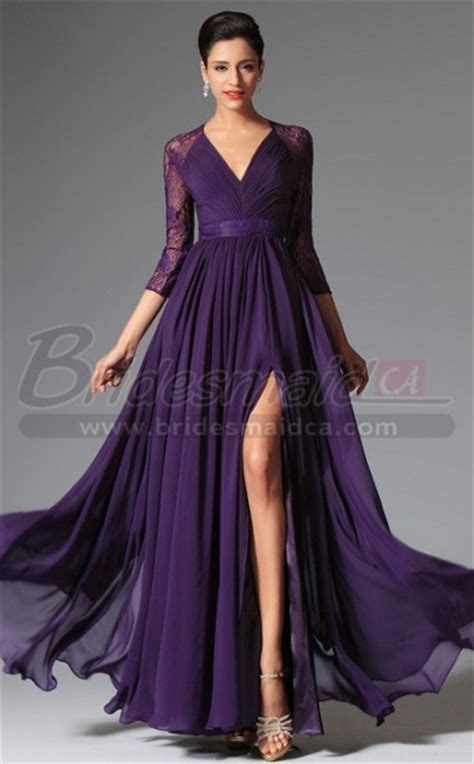 v neck chiffon lace purple bridesmaid dress with