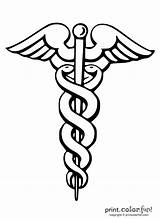 Medical Caduceus Symbol Coloring Symbols Nurse Printcolorfun Adult Med Tattoo Printables Books Graduation sketch template