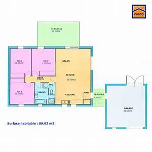 plan de maison individuelle plain pied With plan de maison de 80m2 plein pied