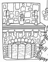Fireplace Coloring Pages Fireplace1 sketch template