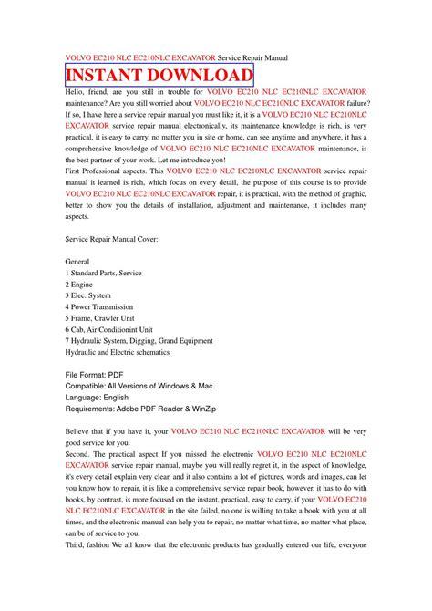 volvo ec210 nlc ec210nlc excavator service repair manual by jnshefse7u issuu
