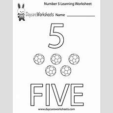 Free Preschool Number Five Learning Worksheet