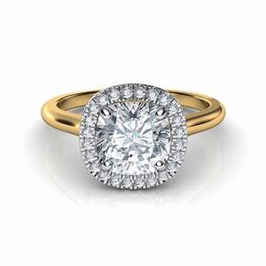 plain shank floating halo cushion cut diamond engagement ring With wedding rings cushion cut