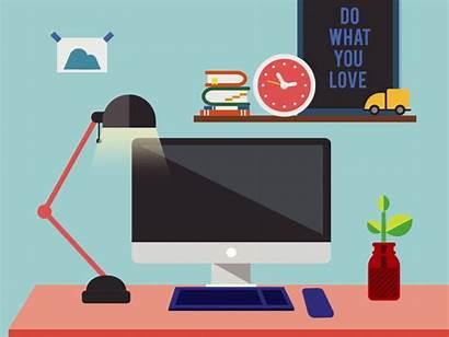 Office Desk Space Imac Clock Workout Plant