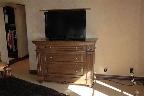 TV Lift Cabinet with Dresser   Andaluz Hidden TV lift cabinet