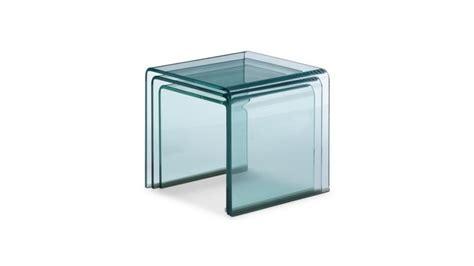table basse bout de canapé table d 39 appoint gigogne noula en verre transparent