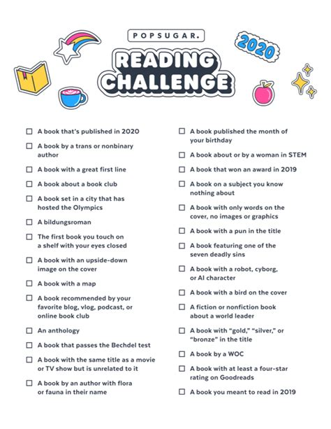 The 2020 PopSugar Reading Challenge: My Reading List ...