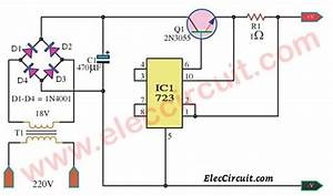 Stabised Current Battery Charger By Lm723  U2013 Electronic Projects Circuits