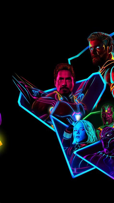 avengers infinity war  neon style art full hd wallpaper