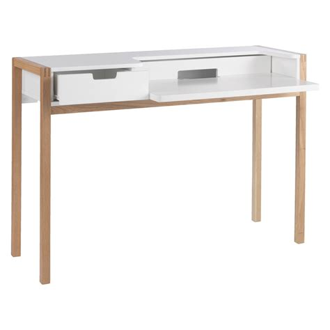 bureau laptop quint white desk with pull out laptop shelf and drawers