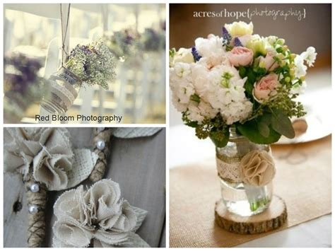 shabby chic table centerpieces burlap and lace wedding decorations the king and prince blog